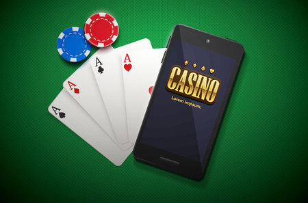 vector illustration of casino chips and mobile isolated on green background Illustration