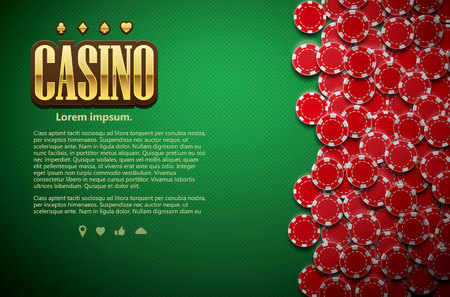 ace of hearts: vector illustration of poker green table cards and chips realistic theme top view place for text