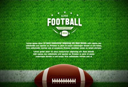 Illustration der amerikanischen Fußball-Draufsicht auf der grünen Wiese Vektorgrafik