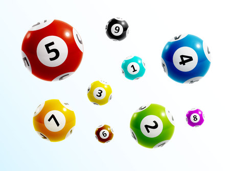 illustration of ball lottery numbers 3d  イラスト・ベクター素材