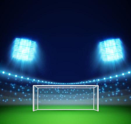 illustration of football stadium with lights and tribunes