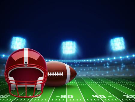 photo realism: illustration of helmet ball and american football