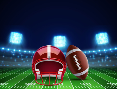 illustration of helmet ball and american football field Illustration