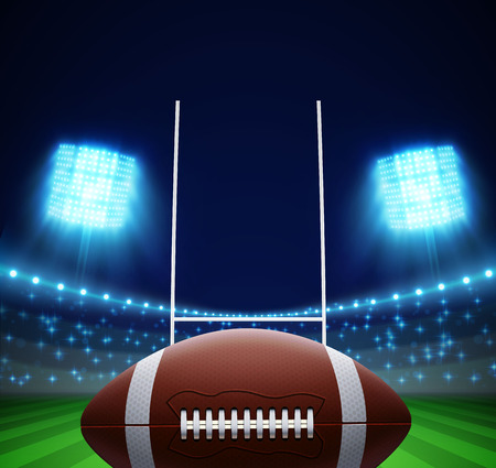 photo realism: illustration of ball and american football field Illustration