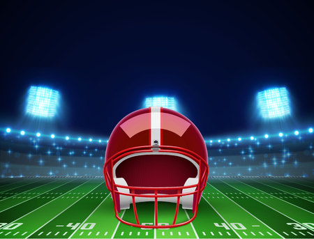 illustration of helmet  and american football field Illustration