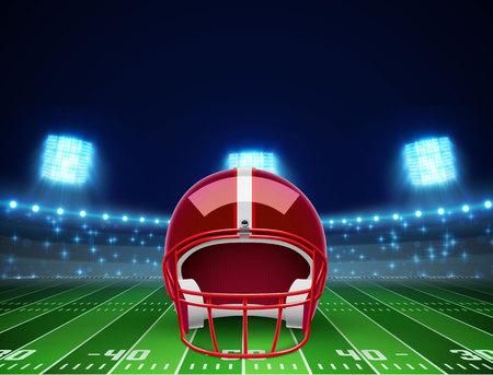 illustration of helmet  and american football field Illustration