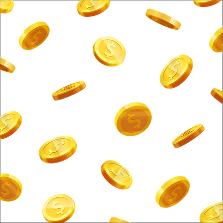 gold coins falling 3d realistic vector coin icon with shadows isolated on white