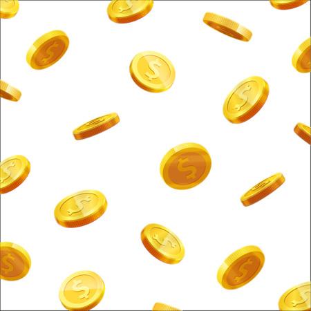 Monete d'oro che cadono 3d icona moneta realistica vettore con ombre isolato su bianco Archivio Fotografico - 67293198