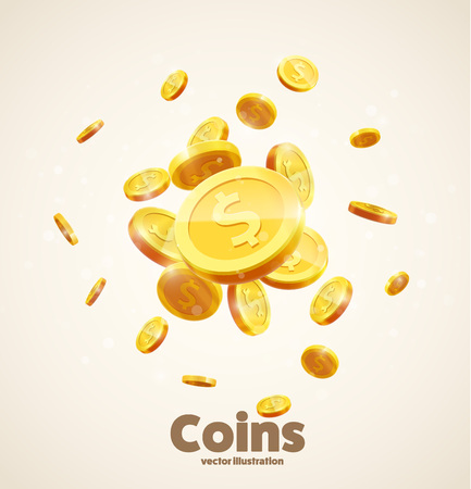 vector illustration of gold coins falling 3d realistic vector coin icon with shadows isolated on white