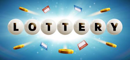 vector illustratie van de loterij ballen geïsoleerd op blauwe gloeiende achtergrond met kaarten en munten realistische objecten