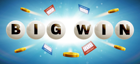 vector illustration of lottery balls isolated on blue glowing background with tickets and coins realistic objects