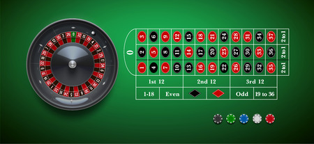 roulette online: vector illustration of  roulette wheel with casino chips isolated on green  table realistic objects 3d with place for text