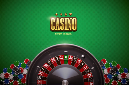 vector illustration of  roulette wheel with casino chips isolated on green  table realistic objects 3d with place for text