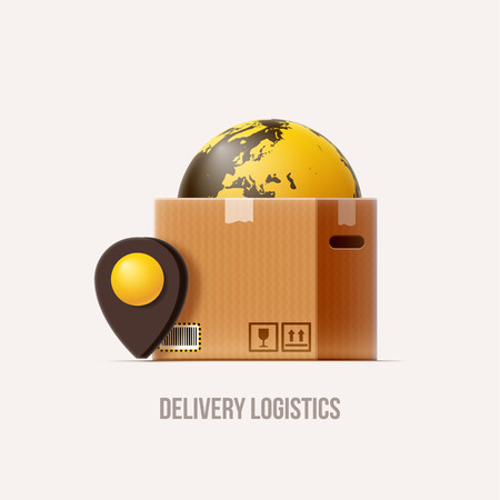 brown box: brown package box map pin earth realistic 3d icon isolated on white