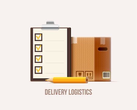 brown box: vector illustration of brown package box check list pencil realistic 3d icon isolated on white Illustration