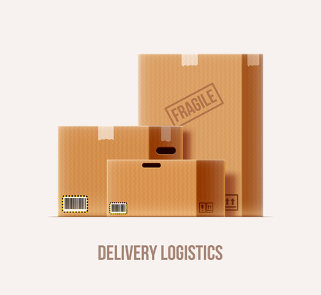 brown box: vector illustration of brown package box set realistic 3d icon isolated on white