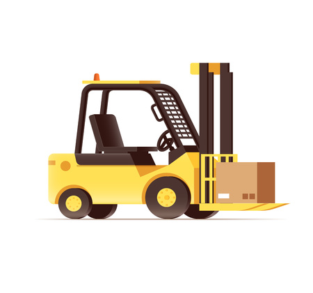 depot: vector illustration of warehouse logistics forklift pallets yellow car isolated on white Illustration