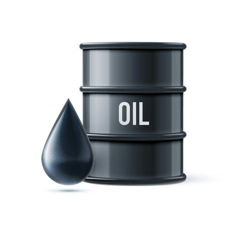 barell: vector illustration of black oil barrel with oil drop isolated on white realistic objects with shadows Illustration