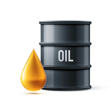 black shadows: vector illustration of black oil barrel with oil drop isolated on white realistic objects with shadows Illustration