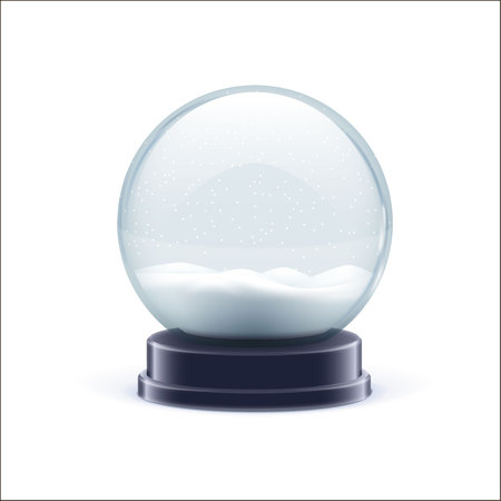 vector illustration of snow globe ball realistic chrismas object isolated on white with shadow Фото со стока - 68696158