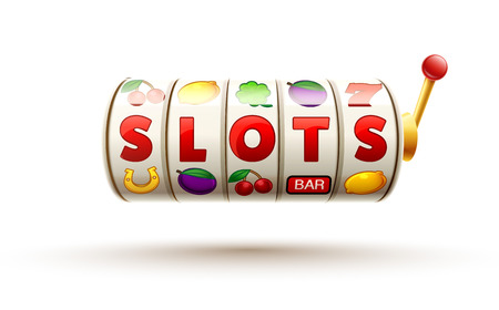 vector illustration of slots 3d element isolated on white with place for text casino object icons