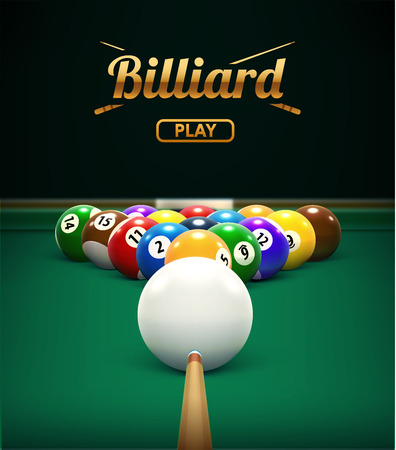 billiard table front view balls sport theme