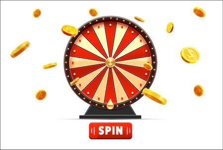 Wheel of fortune met gouden munten 3d object geïsoleerd op blauwe gloed