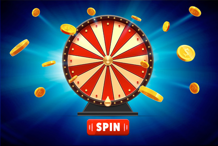 wheel of fortune with gold coins 3d object isolated on blue glow Vettoriali