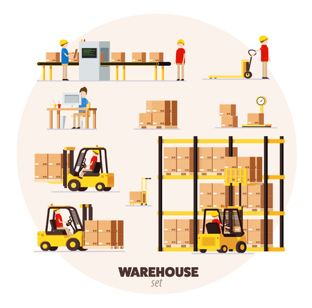 Warehouse logistic pattern isometric objects car human forklift