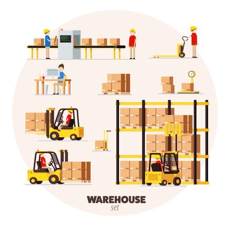 Warehouse logistieke patroon isometrische voorwerpen auto menselijke heftruck