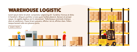 warehouse logistic background isometric objects car human forkli