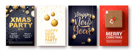 happy new year 2018 gold and black colors place for text chris Ilustração