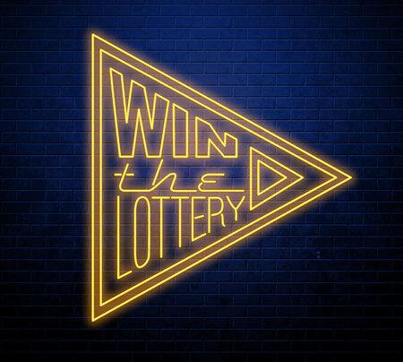 Win the lottery neon sign isolated on brick wall 일러스트