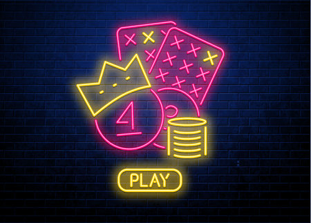 lottery neon glowing sign button play Vector illustration.