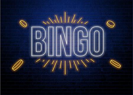 Bingo neon sign isolated on brick wall