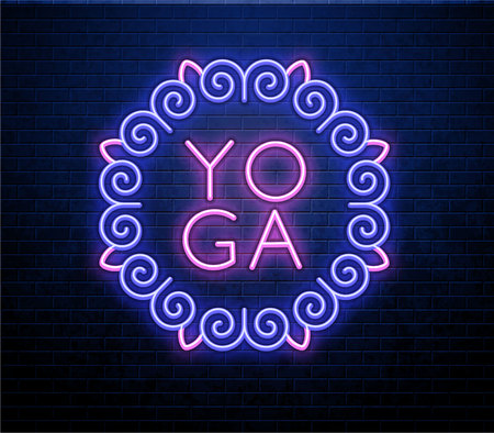 yoga neon sign isolated on brick wall Imagens - 100894001