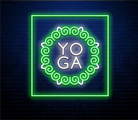 A yoga neon sign against brick wall Imagens - 100904448