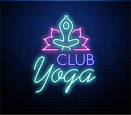 Yoga neon sign isolated on brick wall Ilustração