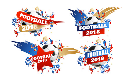 Football 2018 set with splash floral background