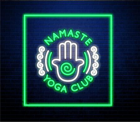 yoga neon sign of Namaster Yoga Club isolated on brick wall