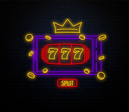 neon casino sign isolated on black brick wall slots