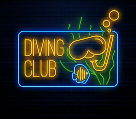 diving club neon sign glowing icon