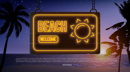 summer neon banner isolated on wood Imagens - 122763423