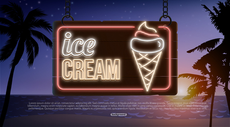 summer neon banner isolated on wood ice cream cafe Ilustração