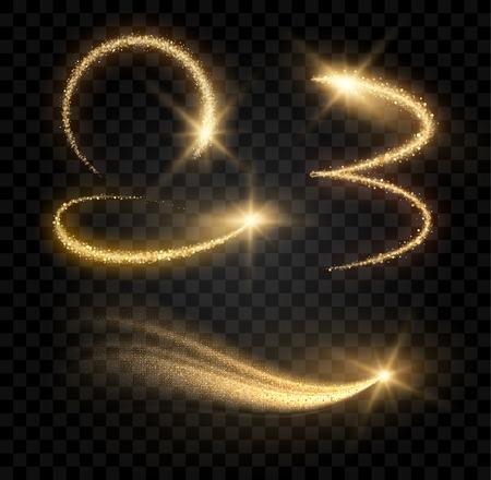 gold glitter star glowing objects Vettoriali