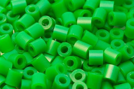 green plastic beads Stock Photo