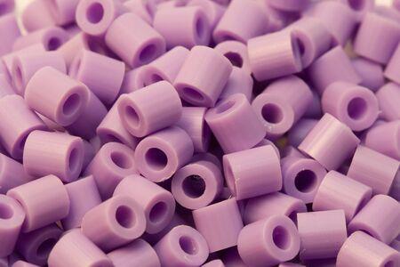 purple plastic beads Stock Photo