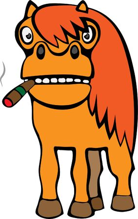 Red horse with a cigar. Ilustrace