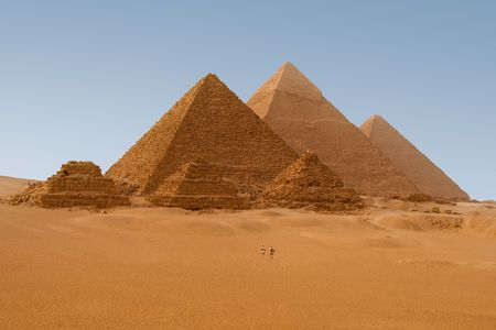 Panaromic view of six Egyptian pyramids in Giza, Egypt  photo