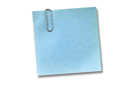 bulletinboard: Blue adhesive note isolated on white Stock Photo
